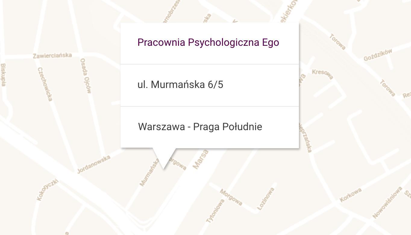 Mapa z lokalizacją pracowni psychologicznej Ego przy ulicy Murmańskiej